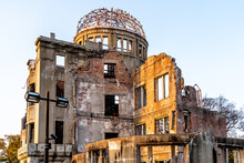 Atomic Bomb Dome At Sunset, Part Of The Hiroshima Peace Memorial Park Hiroshima, Japan And Was Designated A UNESCO World Heritage Site.