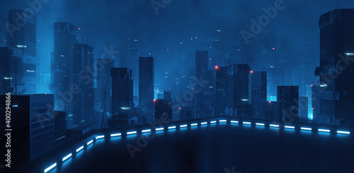 Fototapeta 3D Rendering of building deck in mega cyberpunk style city surrounding with many skyscraper towers. For business technology product background, wallpaper obraz