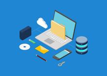データのバックアップ・復元・移行・送信のイラスト素材