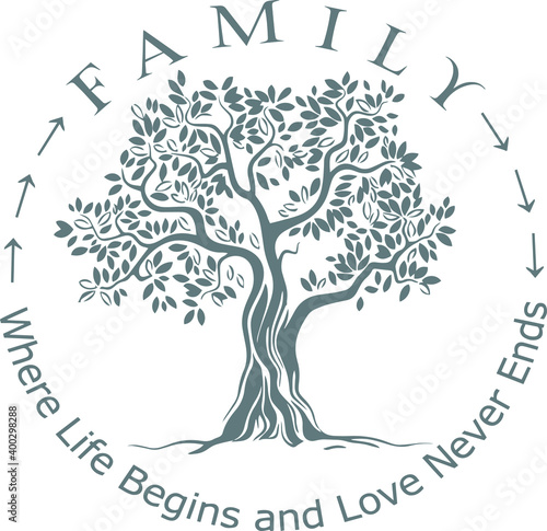 Photo family where life begins and love never ends tree background logo sign inspirati