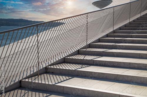Observation deck near landmark suspension 25 of April bridge Wallpaper Mural
