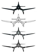F4U Corsair Airplane, Front View.