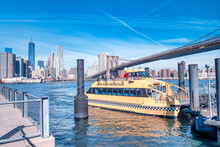NEW YORK CITY - OCTOBER 2015: Water Taxi From Brooklyn Bridge Park On A Beautiful Autumn Day