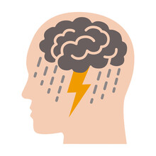 Brainstorm Or Mental Illness Disorder Flat Vector Color Icon For Mental Health Apps And Websites