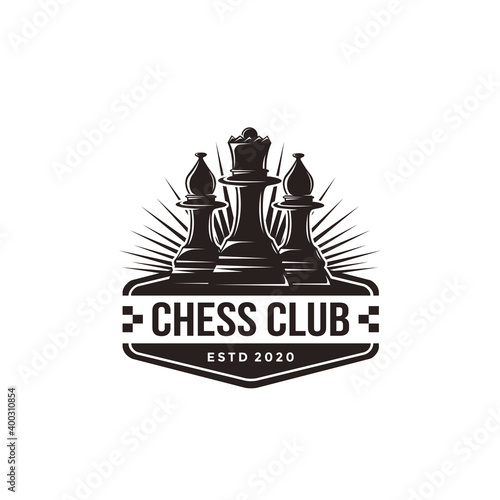 Fotografia Vintage classic badge emblem chess club, chess tournament logo vector icon on wh