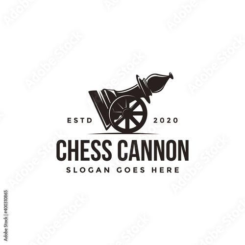 Canvas Vintage classic badge emblem chess club, chess tournament, cannon bishop logo ve