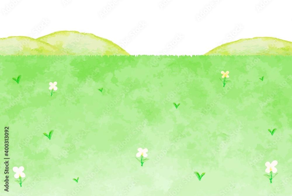 Fototapeta 穏やかな野原と山の風景イラスト