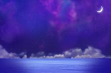 三日月と夜の海と雲