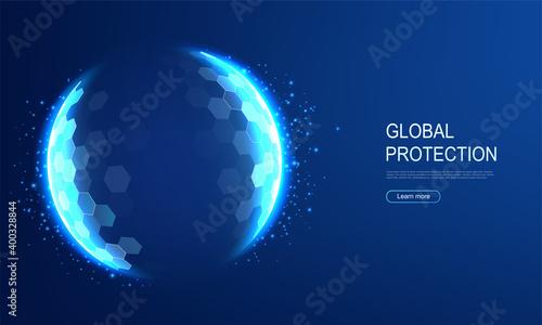 Fototapeta Power protective energy dome, shield on blue background