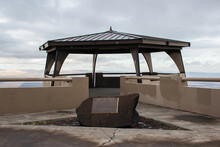 An Unusual Gazebo On The Top Of The Mountain, From Which You Can See A Beautiful View Of The City, Fields, Forests From Above. Oregon Scenic Highway.