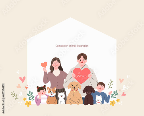 companion animals illustration with people Fototapet