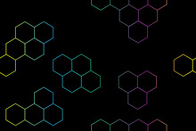 Colored Hexagons On Black Seamless Pattern