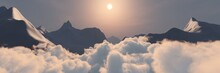 Above The Clouds In The Mountains At Dawn, Sunset Over The Clouds In The Mountains,, 3d Rendering