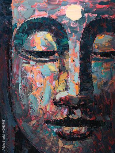 Buddha . Oil painting Fototapeta