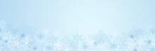Pastel Blue Winter Background With Snowflakes, Copy Space