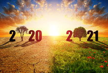 Number 2020 In Dry Country With Cracked Soil And 2021 In Green Field. Concept Of Happy New Year. Global Warming Or Change Climate Theme.