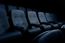 The Cinema Hall Is Empty, New Blue Seats In The Auditorium Or Cinema