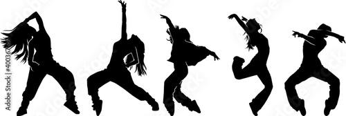 Leinwand Poster Urban dancer pose silhouette