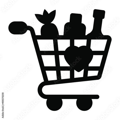 Obraz na plátne Vegetables inside handcart depicting grocery shopping icon
