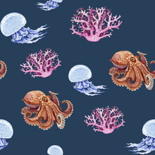Sea Creatures Seamless Pattern Illustration. Hand Drawn Octopus, Jellyfish, Coral Watercolor Illustration Wallpaper. Nautical Animals For Print. Underwater Life Repeat Pattern On Dark Blue Background.
