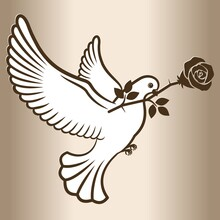 White Dove Flying With A Rose Flower. Post Pigeon. Vector Illustration.