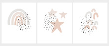 Cute Nursery Arts Set With Hand Drawn Stars, Rainbow, Arcs  And Black Irregular Spots Isolated On A White Background. Infantile Style Print Ideal For Card, Wall Art, Poster, Kids Room Decoration.