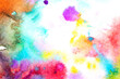 Vibrant Watercolour Paint Colours On A White Background
