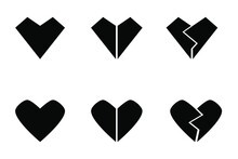Set Of Six Different Black Hearts - Whole Hearts And Broken Hearts For Different Designs Purposes. Various Geometry, Monochromatic Color And Minimalism.
