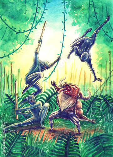 Fotografía Ninjas or samurais personages fights with angry bull in jungle forest or bamboo fern drawing art by watercolor painting, hand drawn illustration with asian fighters battle in cartoon comics style