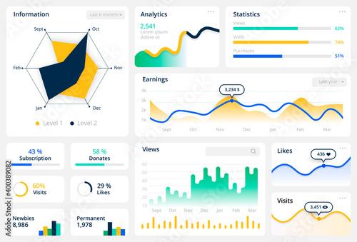 Fotografía Statistics graph template