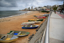 Salvador, Bahia, Brazil - December 18, 2020: Small Fishing Boats Are Seen Near The Fishing Colony On Pituba Beach, In The City Of Salvador.