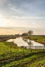 Picturesque Dutch Landscape At The End Of A Sunny Winter Day. The Photo Was Taken In The Polder Hooge Nesse Near The Village Of Heerjansdam, Municipality Of Zwijndrecht, Province Of South Holland.
