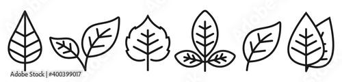 leaf line icon set, Leaf simple symbol, Vector illustration - fototapety na wymiar