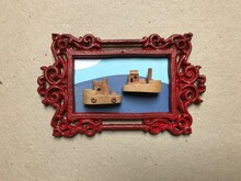 Framed Collage With Two Ships