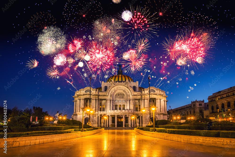 Fototapeta Mexico City with fireworks