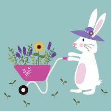 Set Of Gardening Bunny With A Wheelbarrow Full Of Wild Flowers.