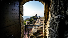 Open Door With Tower Guaita, Or First Tower, In San Marino, Italy