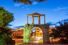 The Arch Of Hadrian, Commonly Known In Greek As Hadrian's Gate, A Monumental  Gateway Resembling A Roman Triumphal Arch. It Spanned An Ancient Road From The Center Of Athens, To The Temple Of Zeus.