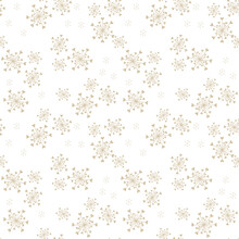 Golden Vector Seamless Pattern With Abstract Snowflakes And Tiny Hearts. Doodle Style Minimalist Background. Subtle Gold And White Texture. Elegant Repeat Design For Decor, Print, Textile, Wallpapers