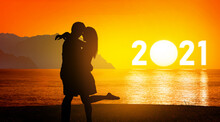 2021 Greeting Card For Happy New Year And Happy New Summer Season With Engaged Couple