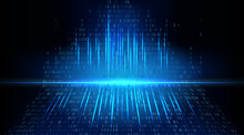 Abstract Futuristic Cyberspace With Streaming Binary Code. Abstract Technology Background. Matrix With Digits, Data Breach