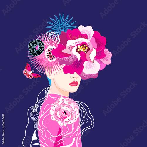 Obraz na plátne Beautiful girl illustration with flowers on dark