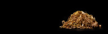 Scrap Gold Jewelry On Black Background. Wide Horizontal Banner With Empty Copy Space For Text.