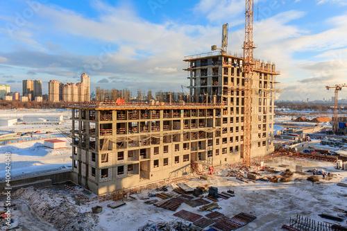 Fotografiet Construction of building Construction of apartment house