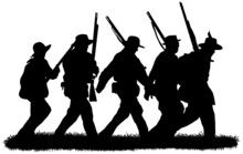 Group Of American Civil War Soldiers Silhouettes In Black On White Background Vector Graphic