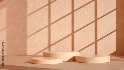 Obraz Product setting podium beige abstract minimalistic geometry, minimal geometric shapes interior, object placement, window shadows background wall room, 3d rendering, - fototapety do salonu
