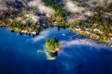 Deep Cove, Greater Vancouver, British Columbia, Canada. Beautiful View On The Luxury Homes In A Modern City Covered In Fog. Colorful Sunny Morning Sky.