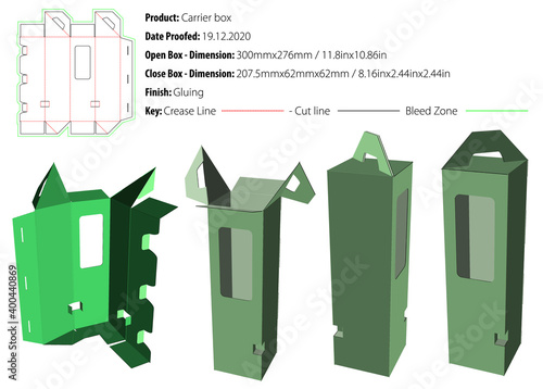 Leinwand Poster Carrier box packaging design template for any kind of product selflock gluing di