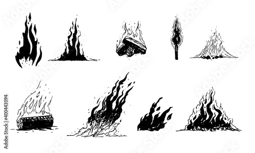 Fotografia Set of hand drawn fire and flame elements