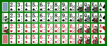 Poker Set With Isolated Cards On Green Background. Poker Playing Cards - Full Deck - Miniature Playing Cards For Mobile Applications